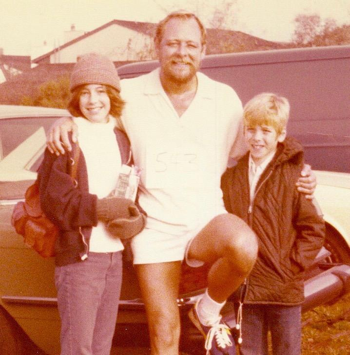 Dad w/my brother & I after his run. Circa 1976
